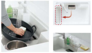 洗剤ラックが自由に動かせ、広びろ使える